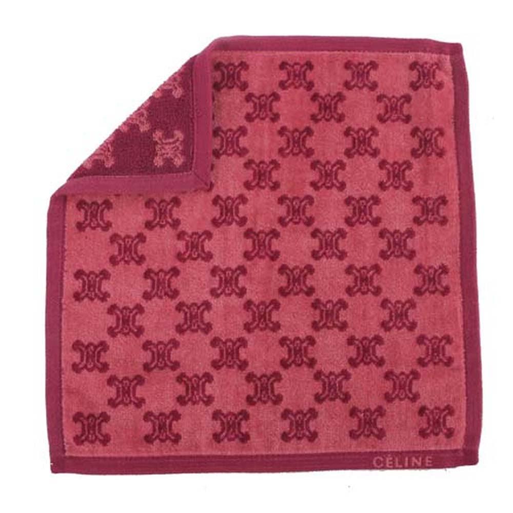 CELINE 經典滿版LOGO雙面純棉小方巾(暗紅)