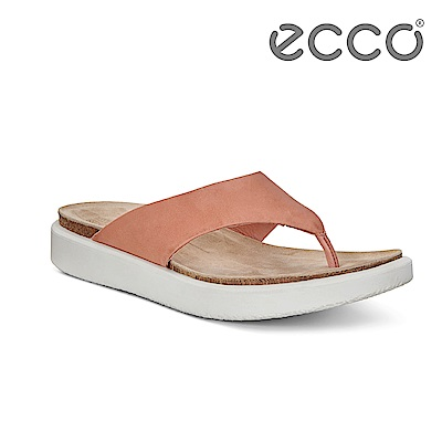 ECCO CORKSPHERE SANDAL W 素色皮革休閒人字拖鞋 女-粉