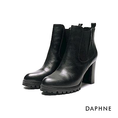 達芙妮DAPHNE 短靴-牛皮彈性異材質拼接高跟短靴-黑