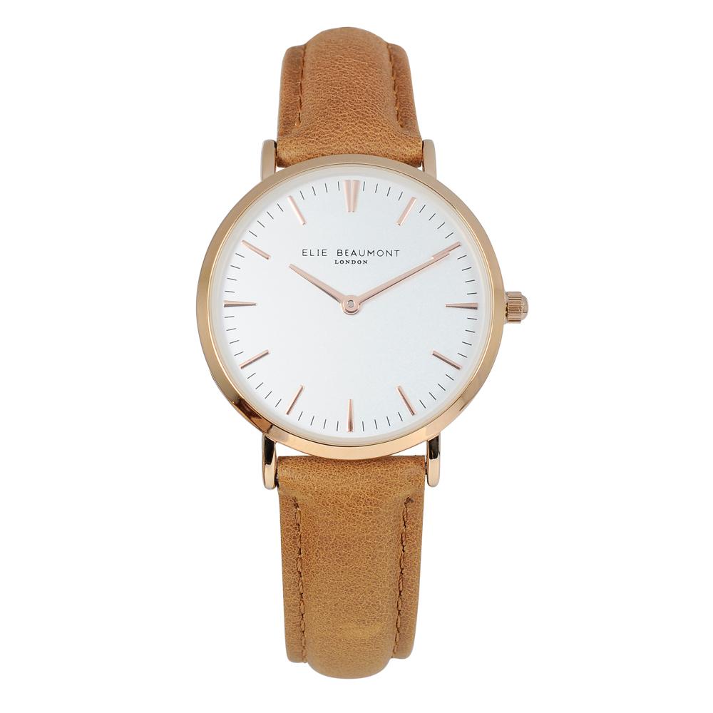 Elie Beaumont英國時尚手錶 牛津系列白錶盤x焦糖色皮革錶帶x玫瑰金錶框33mm