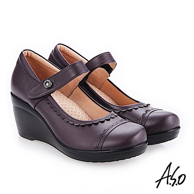 A.S.O 職場通勤 水鑽飾釦真皮紓壓氣墊鞋 紫