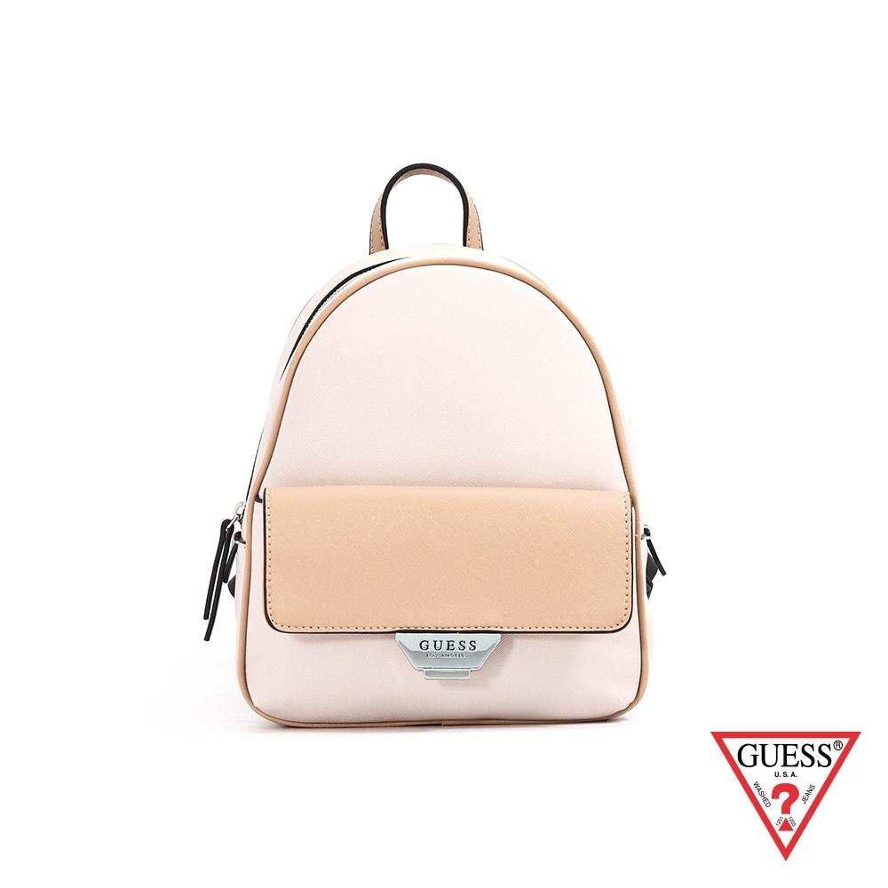GUESS-女包-簡約素面雙色後背包-米白 原價3090