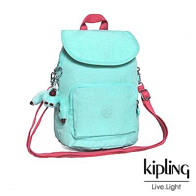 Kipling 後背包 薄荷綠撞色素面-中