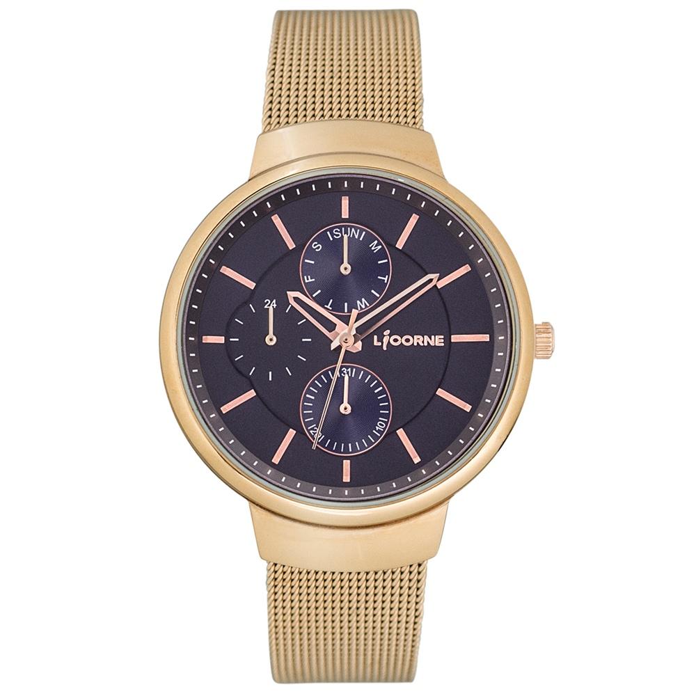 LICORNE 力抗錶 知性高雅三眼手錶-玫瑰金x藍/35mm @ Y!購物