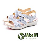 W&M 鏤空燙金花朵健走健塑涼鞋 女鞋-藍(另有金)