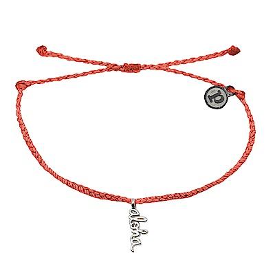 Pura Vida 美國手工 銀色ALOHA 橘色臘線可調式手鍊防水衝浪手繩手鍊
