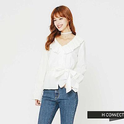 H:CONNECT 韓國品牌 女裝-荷葉領後綁帶上衣-白