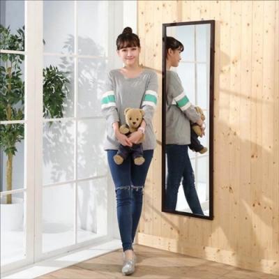 佳美 實木加高140CM款胡桃木紋壁鏡(1入)玄關鏡 穿衣鏡 化妝鏡