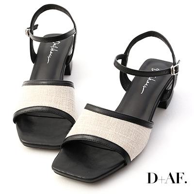 D+AF 南法風情.亞麻布拼接低跟涼鞋*黑