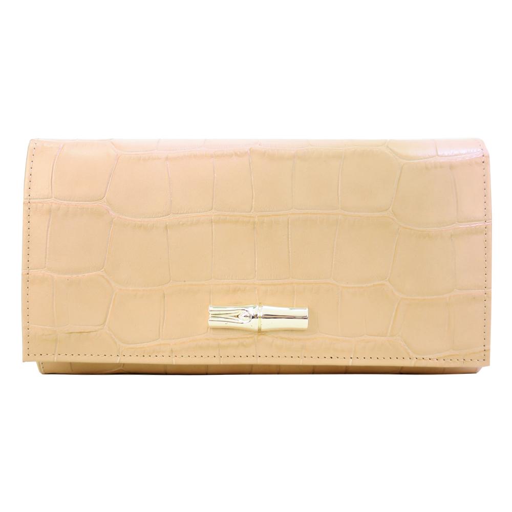 Longchamp Roseau鱷魚紋翻蓋長夾-粉紅色LONGCHAMP
