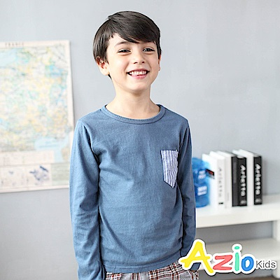 Azio Kids 上衣 直條紋單口袋造型長袖圓領T恤(藍)