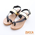 ZUCCA-金屬面夾腳扣環涼鞋-黑-z6327bk