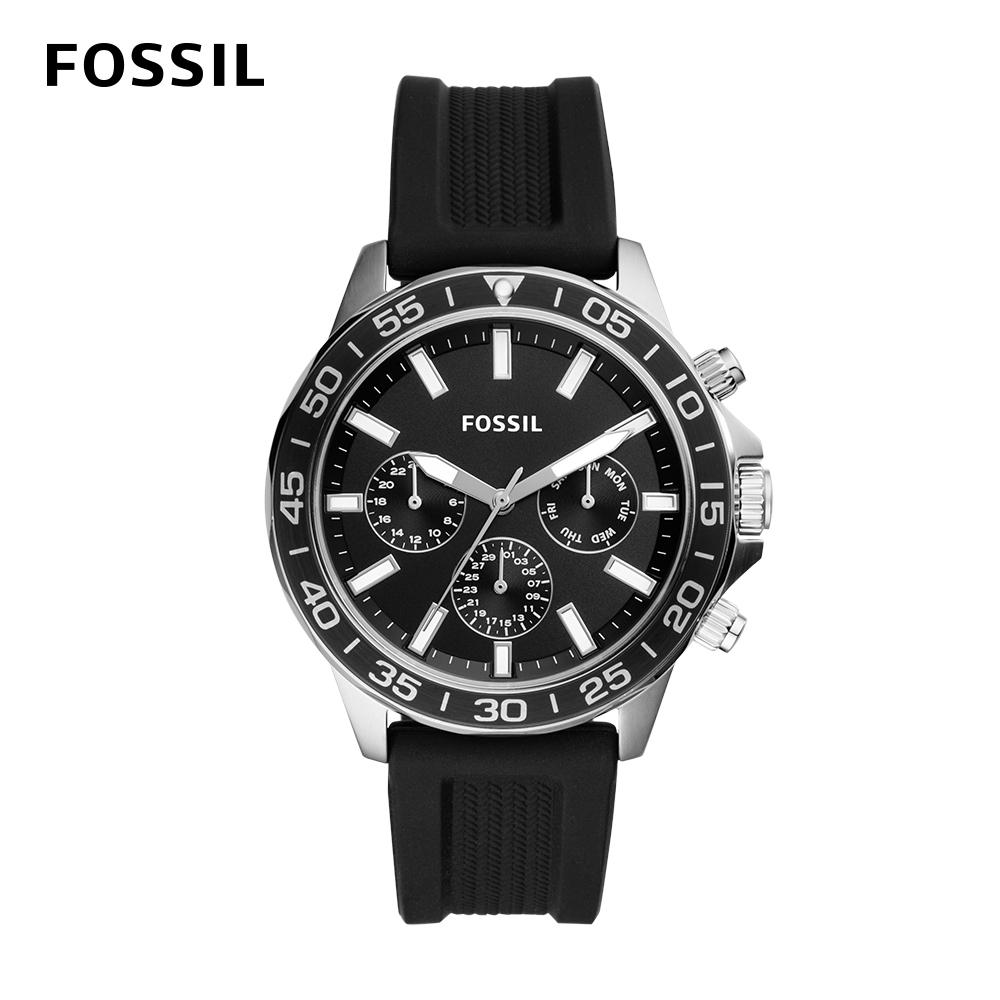 【FOSSIL】Bannon 三眼計時潛水造型手錶 黑色矽膠錶帶 45MM BQ2494