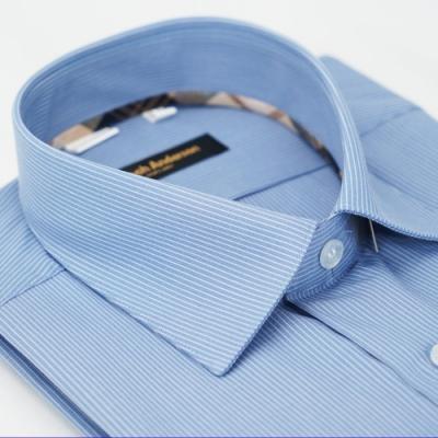 【金安德森】經典格紋繞領白色細紋長袖襯衫fast