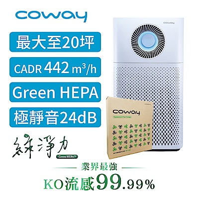 Coway 20坪 綠淨力噴射循環空氣清淨機 AP-1516D+二年份濾網組送聲寶電暖器