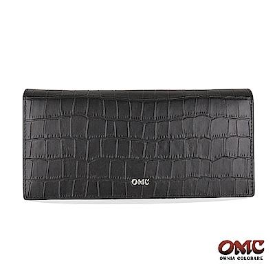 OMC 進口牛皮-鱷魚紋二折式12卡透明窗零錢長夾-黑色
