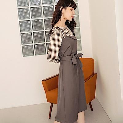 質感小格紋假兩件不規則設計感中洋裝(附綁帶)-OB嚴選