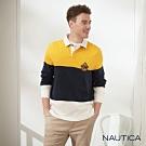Nautica經典三色拼接長袖POLO衫-黃藍