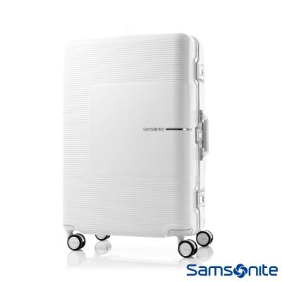 Samsonite新秀麗 28吋Tri-Tech摩登PC鋁框減震輪TSA行李箱(霧白)