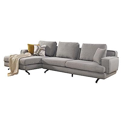 品家居 多娜灰亞麻布L型沙發(左右可選)-300x150x70-免組