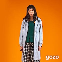 gozo 簡約斜開衩連帽拉鍊外套(二色)