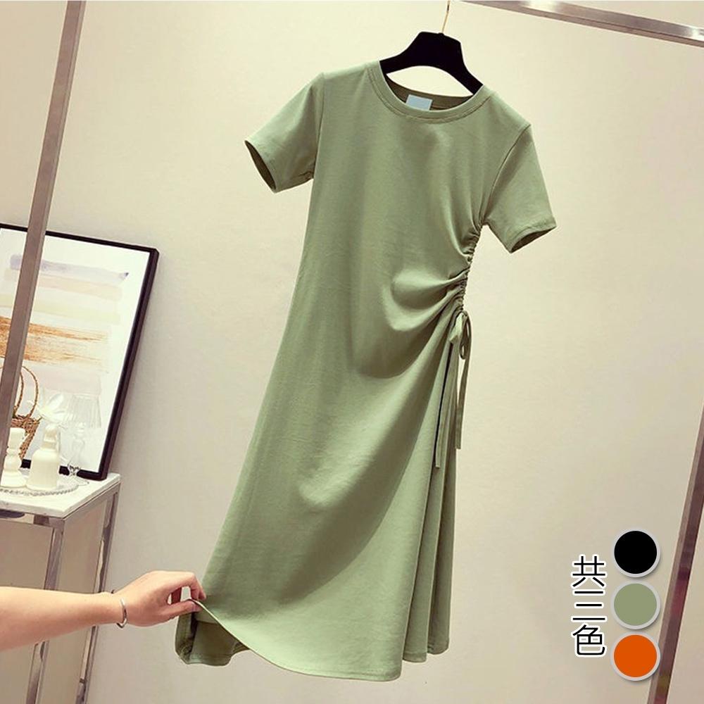 【韓國K.W.】(預購)   美搭款完美曲線綁帶顯瘦素面洋裝