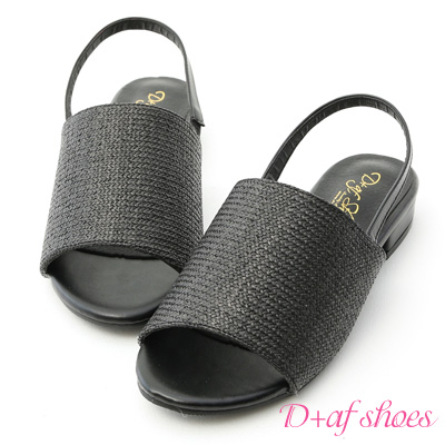 D+AF 輕夏涼爽.寬版一字編織低跟涼鞋*黑