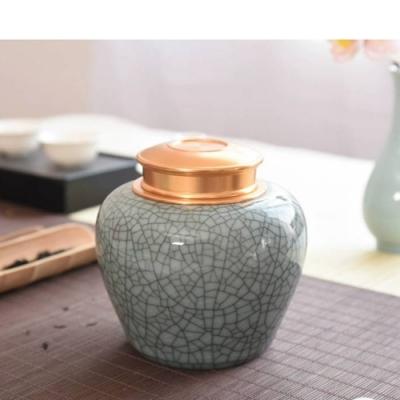原藝坊   哥窯鐵線 鋁合金復古密封茶葉罐(大氣貴妃)