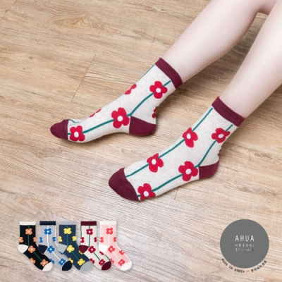 阿華有事嗎  韓國襪子 滿版直條花朵中筒襪  韓妞必備 正韓百搭純棉襪
