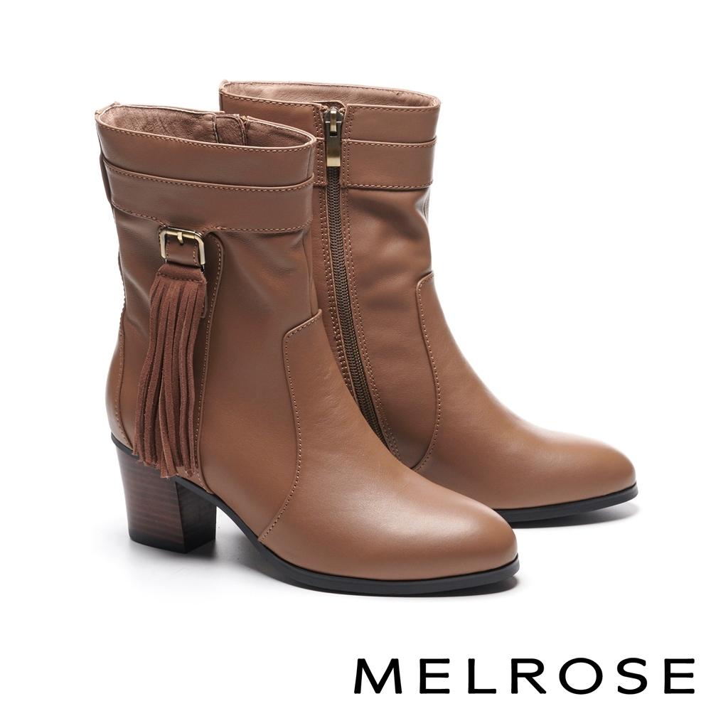 短靴 MELROSE 經典時髦流蘇造型牛皮粗高跟短靴-棕