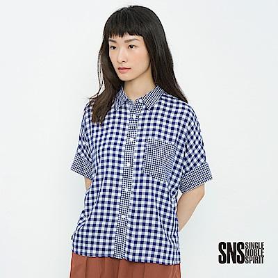 SNS 時尚軌道格紋拼接口袋襯衫(2色)