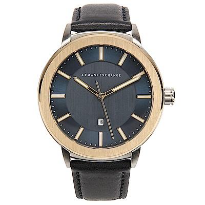 A/X Armani Exchange知性簡約都會真皮錶帶男腕錶(AX1463)-45mm