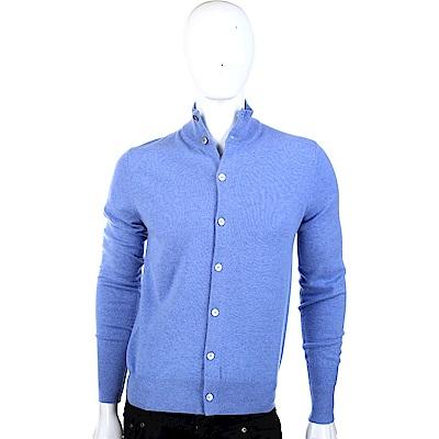 BALLANTYNE 喀什米爾水藍色立領開襟羊毛衫