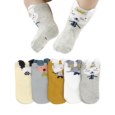 JoyNa童襪中筒襪 純棉兒童動物造短襪-5雙入