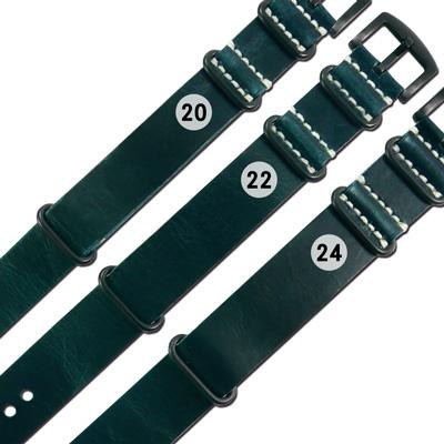 Watchband / 各品牌通用 百搭款 柔軟舒適 油蠟牛皮錶帶 - 藍綠色