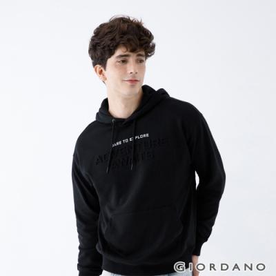GIORDANO 男裝ADVENTURE連帽T恤 - 53 標誌黑