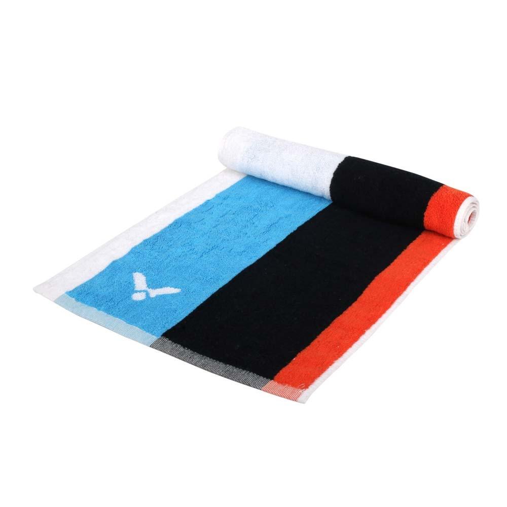 VICTOR CROWN COLLECTION運動毛巾-台灣製 純棉 游泳 勝利 戴資穎 C-4166 黑白藍橘
