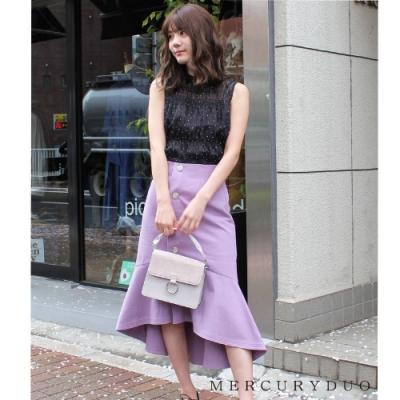 MERCURYDUO 排釦裝飾魚尾裙(3色)