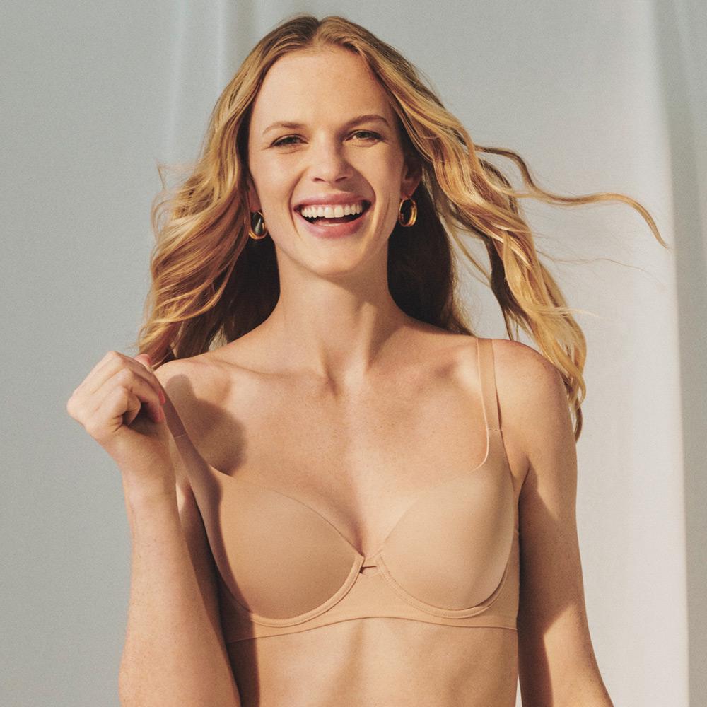 黛安芬-素面自在系列魔術無縫記憶棉 D罩杯全罩內衣 裸膚 @ Y!購物