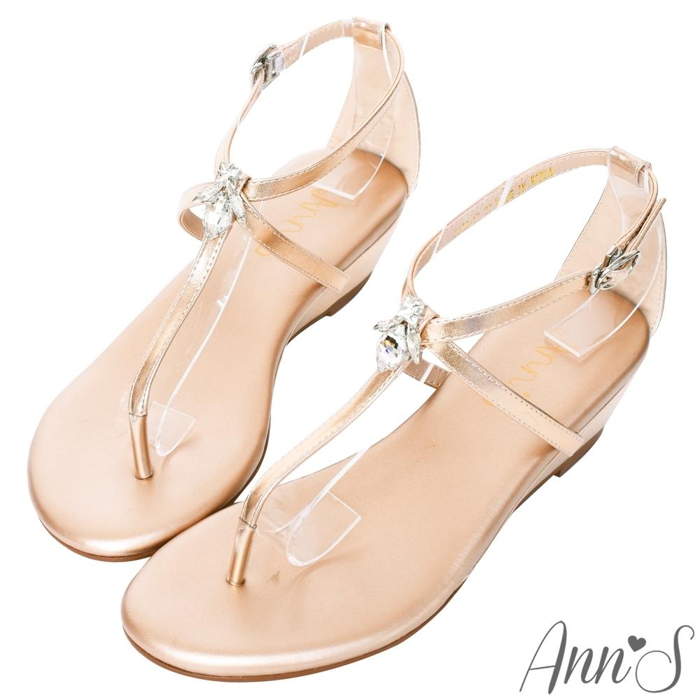Ann'S花田小蜜蜂-水滴鑽飾T字交叉顯瘦小坡跟涼鞋-玫瑰金