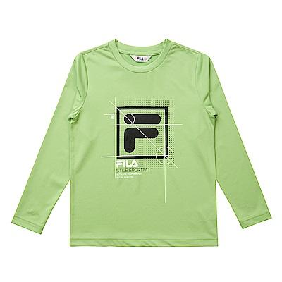 FILA KIDS 童抗UV吸濕排汗上衣-黃綠 1TES-8316-LM