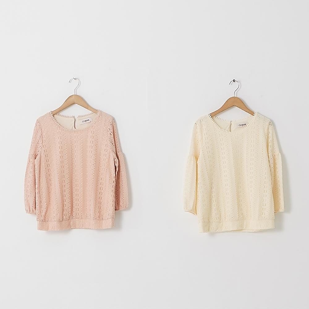 【CUMAR】圓領澎袖蕾絲-女短袖襯衫(二色/版型適中)
