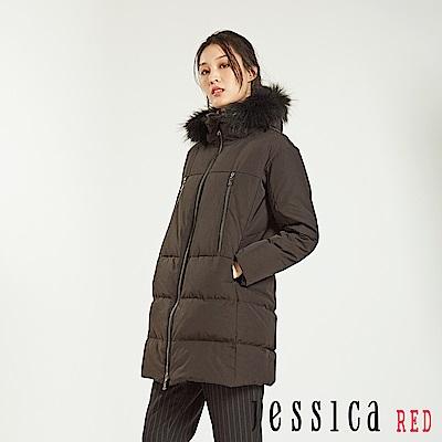 JESSICA RED - 保暖時尚造型外套大衣(黑)