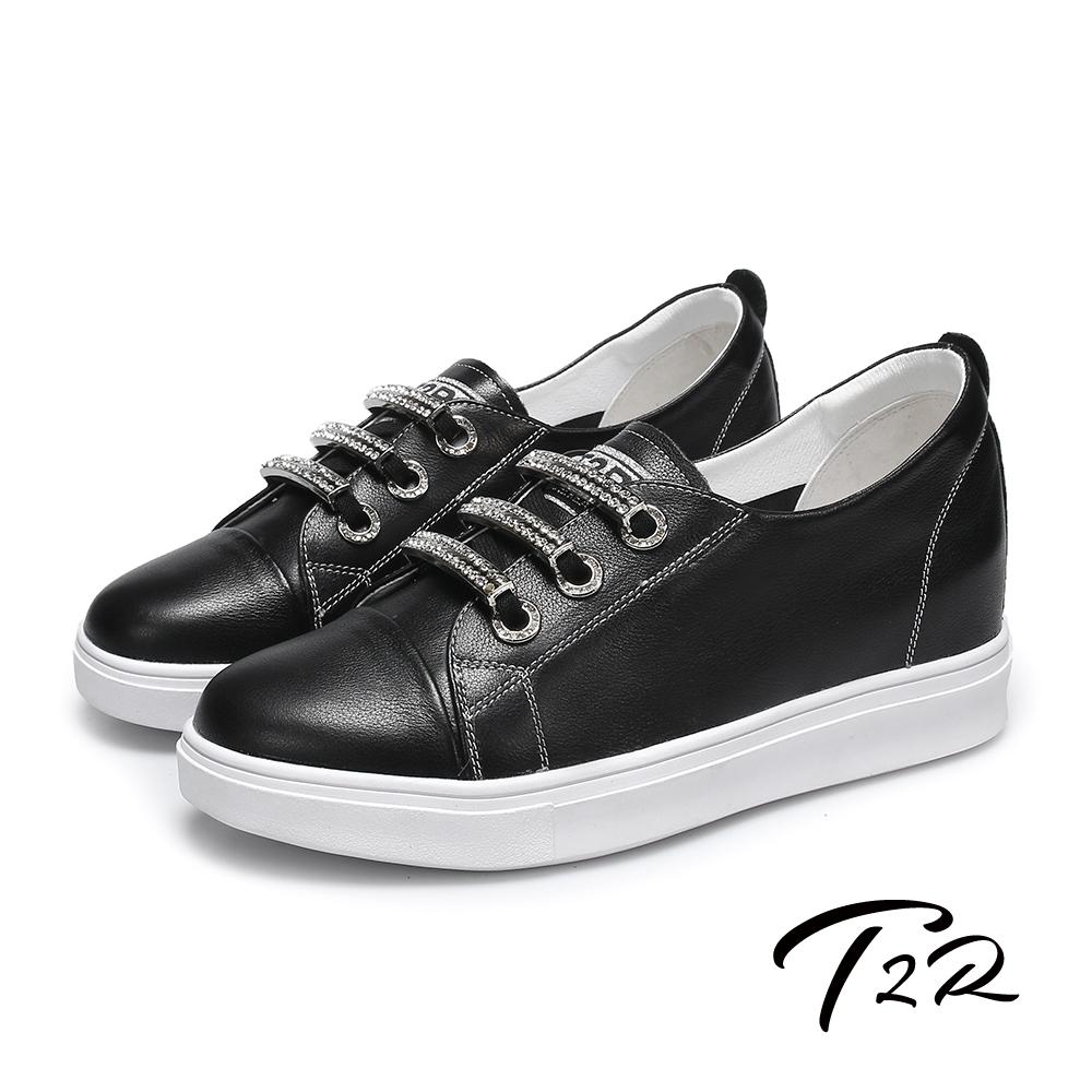 T2R-正韓空運-水鑽真皮帆布鞋小白鞋隱形增高鞋-增高6公分-黑
