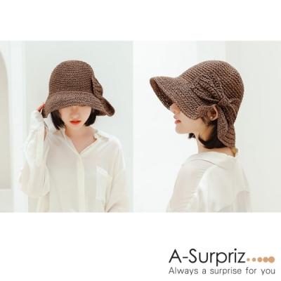 A-Surpriz 開岔蝴蝶結編織遮陽草帽(深咖)