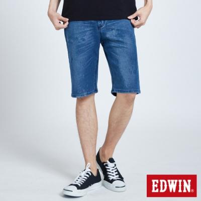 EDWIN JERSEYS 迦績 PK EJ3 透氣中腰寬鬆 牛仔短褲-男-拔洗藍