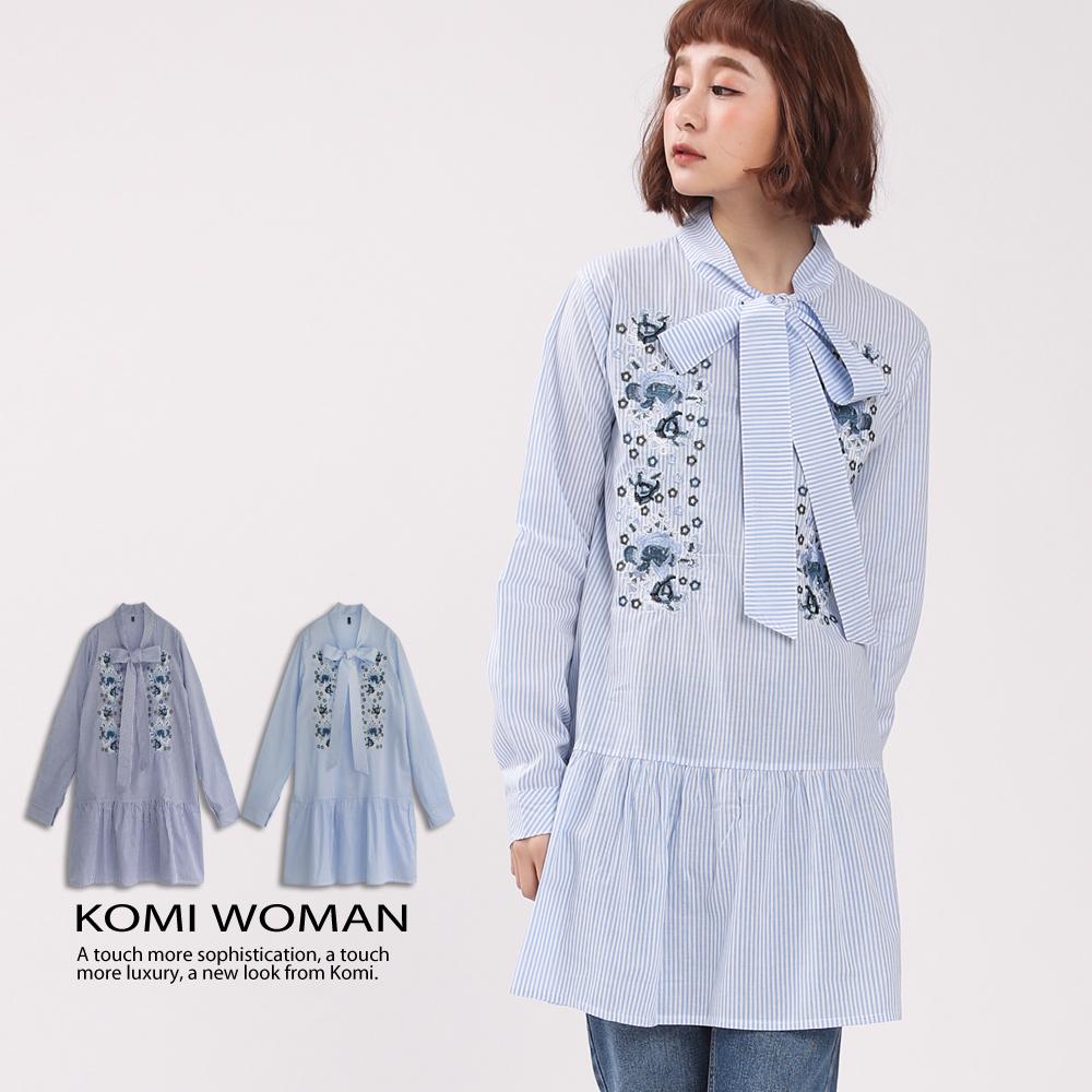 【KOMI】蝴蝶結繡花棉襯衫洋裝 (二色)
