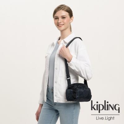 Kipling 光澤迷彩沉穩藍好收納隨身斜背包-JENERA MINI