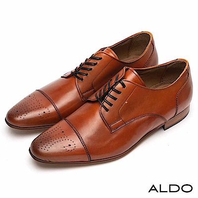 ALDO 原色真皮幾何雕花鋸齒波浪車線綁帶式皮鞋~率性焦糖
