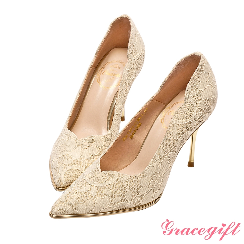Disney collection by grace gift-仙杜瑞拉典雅蕾絲水晶跟鞋 杏